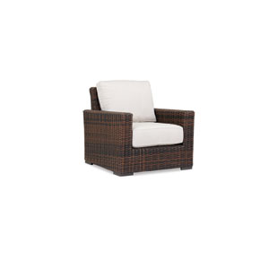 Montecito Club Chair with cushions in Canvas Flax with self welt