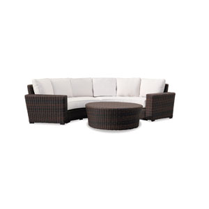 Montecito Curved Loveseat with cushions in Canvas Flax with self welt