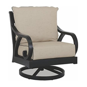 Monterey Swivel Rocker With Cushions In Frequency Sand With Canvas Walnut Welt