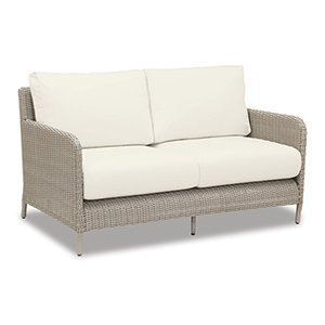 Manhattan Loveseat With Cushions In Linen Canvas With Self Welt