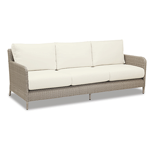 Manhattan Sofa With Cushions In Linen Canvas With Self Welt