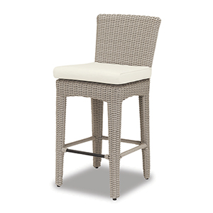 Manhattan Barstool With Cushions In Linen Canvas With Self Welt