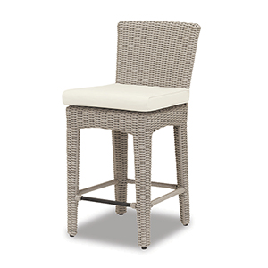 Manhattan Counter Stool With Cushions In Linen Canvas With Self Welt