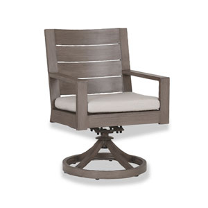 Laguna Swivel Dining Chair with Cushions in Canvas Flax with Self Welt