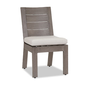 Laguna Armless Dining Chair with Cushions in Canvas Flax with Self Welt
