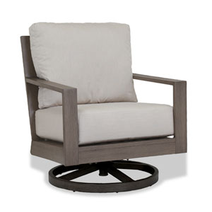 Laguna Swivel Club Rocker with Cushions in Canvas Flax with Self Welt