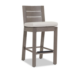 Laguna Counter Stool with Cushions in Canvas Flax with Self Welt