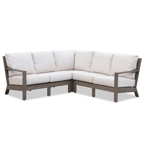 Laguna Sectional with Cushions in Canvas Flax with Self Welt
