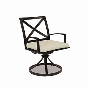 La Jolla Swivel Dining Chair With Cushions In Canvas Flax With Self Welt