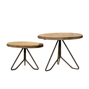 Wood and Metal Plant Stand, Set of Two