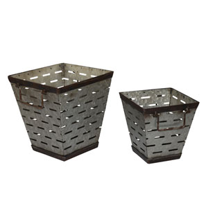 Metal Square Olive Bucket, Set of Two