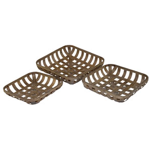 Wood Tobacco Baskets, Set of Three