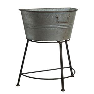 Metal Galvanized Half Tub on Stand