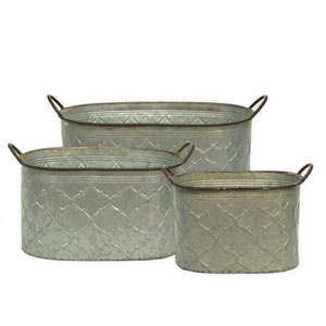 Metal Buckets, Set of Three