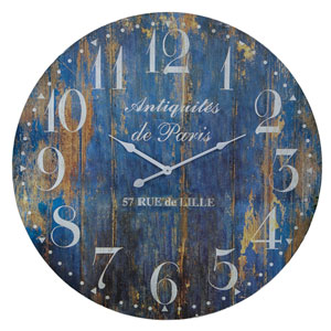 Blue Wood 23 In. Clock