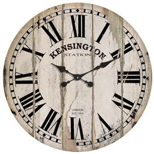 White 28 In. Wood Wall Clock