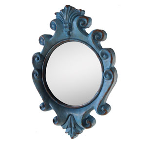 Resin Framed Mirror, Blue