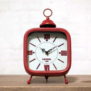 Metal Table Clock Red