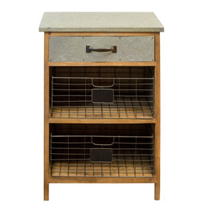 Wood 32 In. Cupboard with Galvanized Top