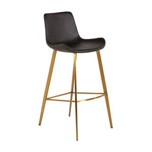 Hines Charcoal Brown and Stainless Gold 30-Inch Bar Stool