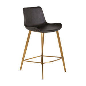 Hines Charcoal Brown and Stainless Gold 26-Inch Counter Height Stool