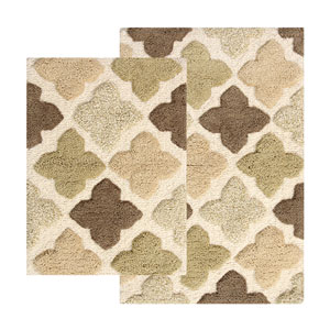Alloy Khaki Moroccan Tiles Two-Piece Bath Rug Set