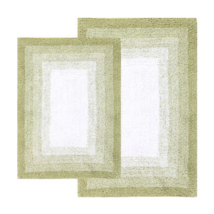 Whitney Nile Green Ombre Reversible Two-Piece Bath Rug Set