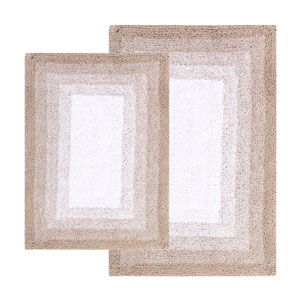 Whitney Doeskin Beige Ombre Reversible Two-Piece Bath Rug Set