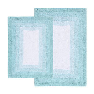 Whitney Porcelain Blue Ombre Reversible Two-Piece Bath Rug Set