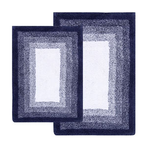 Whitney Deep Denim Ombre Reversible Two-Piece Bath Rug Set