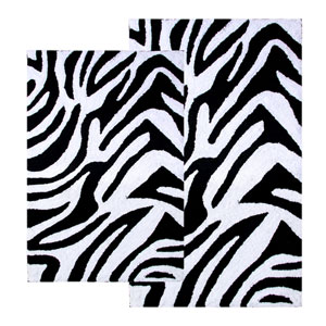Zebra Two-Piece Bath Rug Set