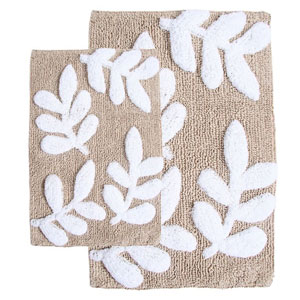 Monte Carlo Taupe and White Two-Piece Bath Rug Set