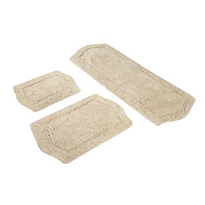 Paradise Taupe Memory Foam Three-Piece Bath Rug Set