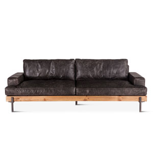 Chiavari Distressed and Antique Zinc 37-Inch Ebony Leather Sofa