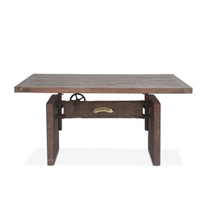 Sterling Concrete and Rustic 63-Inch Adjustable Reclaimed Teak Office Desk