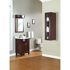 11.75-in. W X 47.75-in. H Transitional Birch Wood-Veneer Wall Curio In Coffee