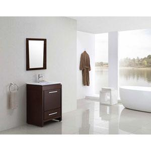 29.5-in. W X 33.5-in. H Modern Plywood-Melamine Wood Mirror In Wenge