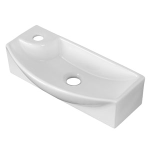 17.75-in. W Above Counter White Vessel Set For 1 Hole Left  Faucet