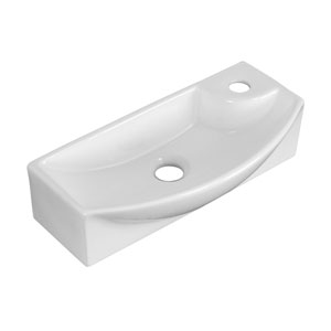 17.75-in. W Wall Mount White Vessel Set For 1 Hole Right Faucet