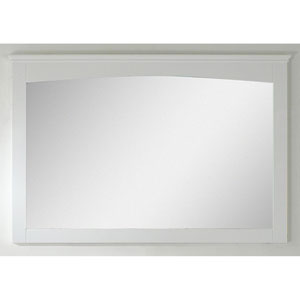48-in. W X 31.5-in. H Modern Plywood-Veneer Wood Mirror In White