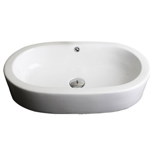 25.25-in. W Semi-Recessed White Vessel Set For Deck Mount Drilling - Faucet Included