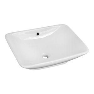 21.5-in. W Above Counter White Vessel Set For Deck Mount Drilling - Faucet Included