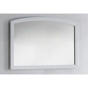 35.43-in. W X 25.6-in. H Modern Birch Wood-Veneer Wood Mirror In White