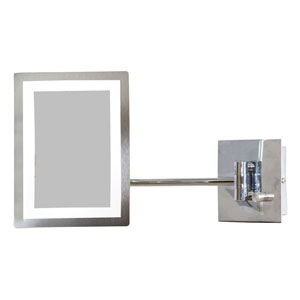 17.44-in. W Rectangle Brass-LED Wall Mount Magnifying Mirror In Chrome Color