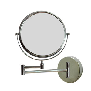 19.56-in. W Round Brass-Mirror Wall Mount Magnifying Mirror In Chrome Color