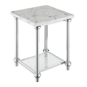 Roman II White Marble Chrome End Table
