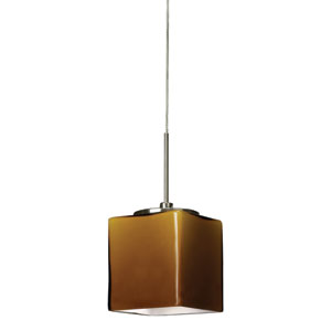 Geo Satin Nickel 3000K 120-227V LED Mini Pendant with Amber Shade