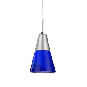 Laveer Satin Nickel 3000K 120-227V LED Mini Pendant with Blue Shade