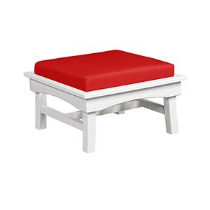 Bay Breeze Jockey Red Large Ottoman with Cushion