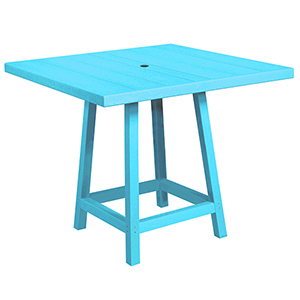 Generation Turquoise 40-Inch Square Pub Table Top with 40-Inch Pub Table Legs
